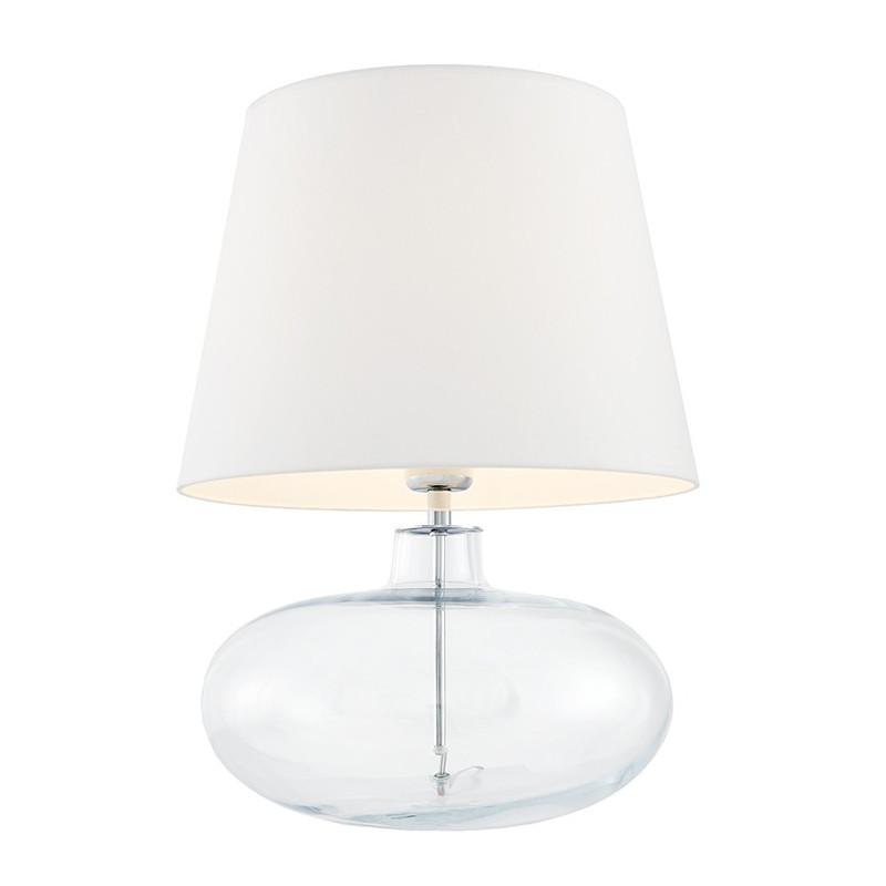 Sawa lampa stołowa przezroczysta / chrom / abażur biały