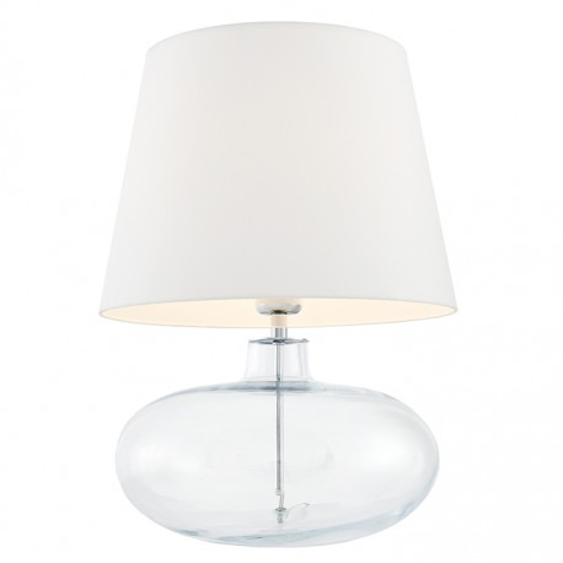 Sawa Standing Lamp Transparent / Chrome / White Lampshade
