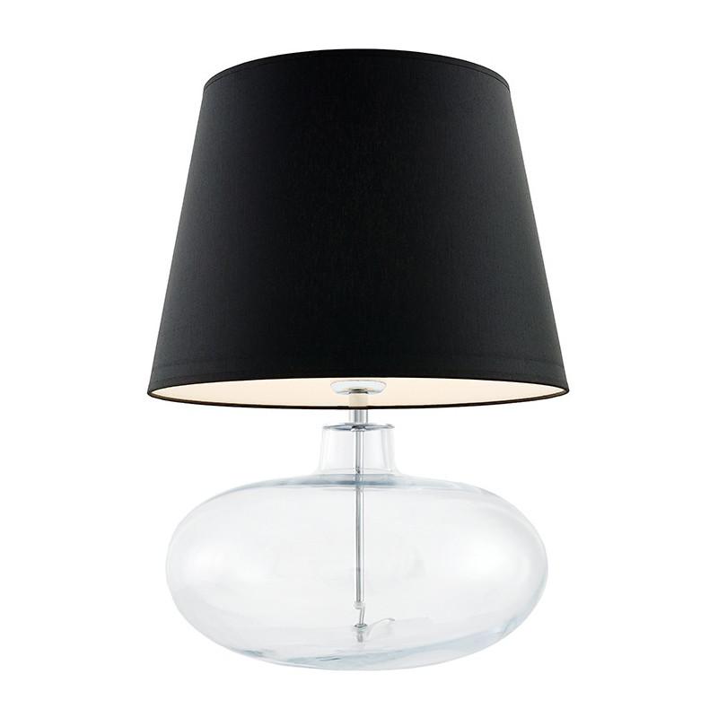 Sawa lampa stołowa przezroczysta / chrom / abażur czarny