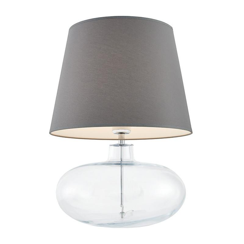 Sawa lampa stołowa przezroczysta / chrom / abażur szary