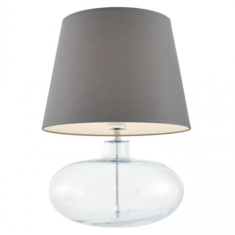 Sawa Standing Lamp Transparent / Chrome / Grey Lampshade