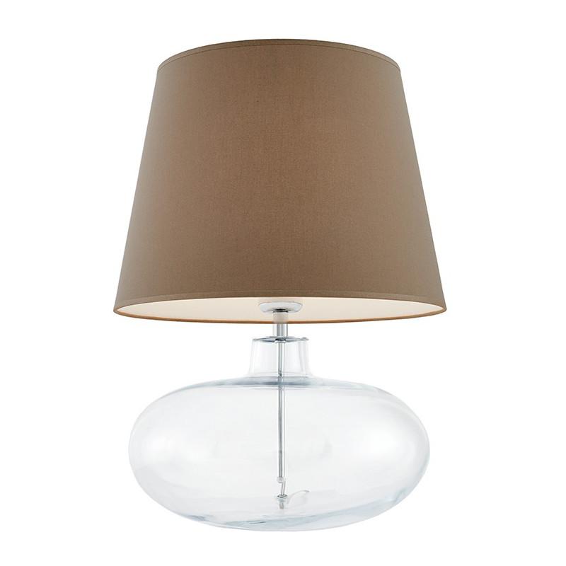 Sawa lampa stołowa przezroczysta / chrom / abażur beżowy