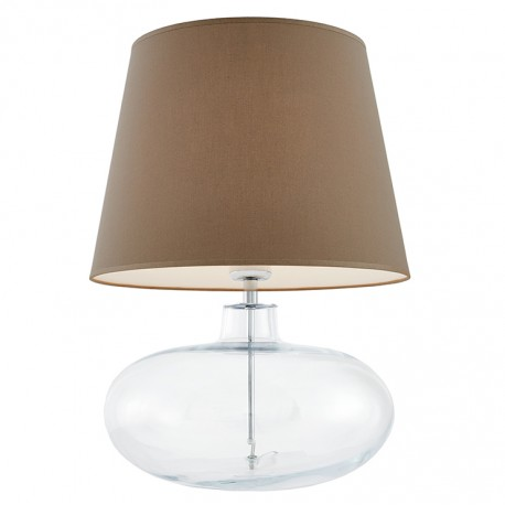 Sawa Standing Lamp Transparent / Chrome / Beige Lampshade