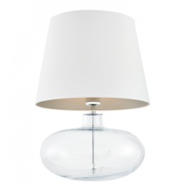 Sawa Standing Lamp Transparent / Chrome / White-silver Lampshade