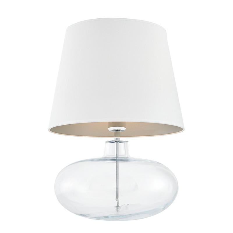 Sawa lampa stołowa przezroczysta / chrom / abażur biały / srebro