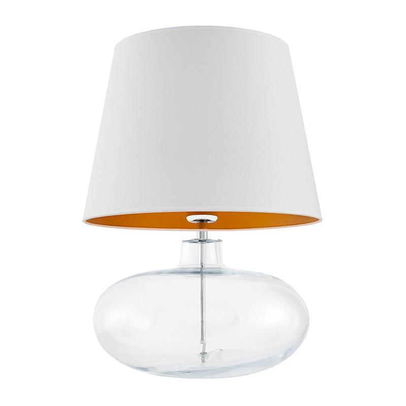 Sawa lampa stołowa przezroczysta / chrom / abażur biały / złoto mat