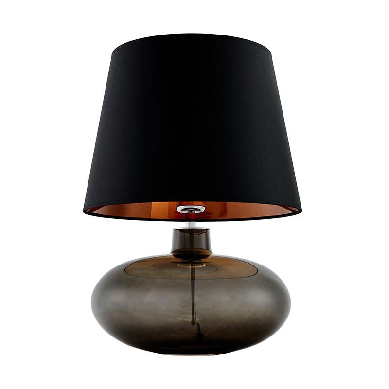 Sawa lampa stołowa grafit / chrom / abażur czarny-miedź