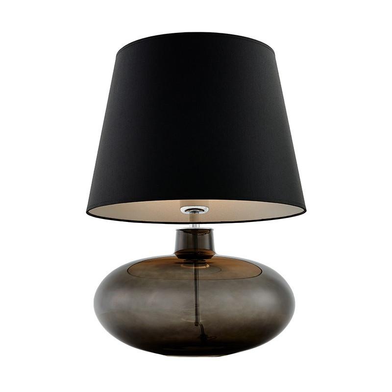 Sawa lampa stołowa grafit / chrom / abażur czarny-srebro mat