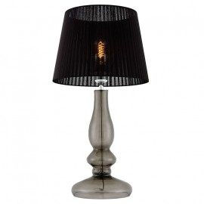 Clar lampa stołowa dymna / chrom / abażur czarny organza