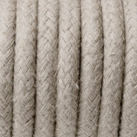 Round electric cable covered by cotton B01 Sahara sand 2x0.75