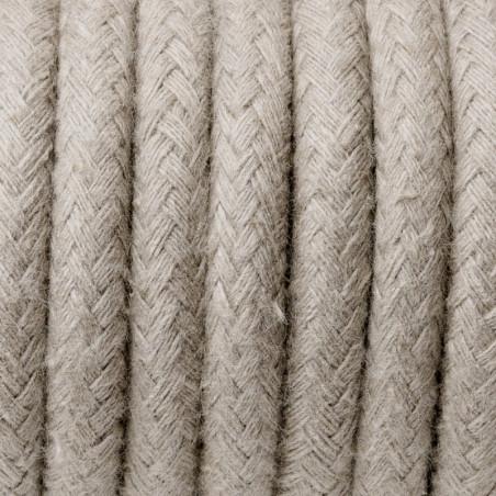 Beżowy kabel w oplocie bawełnianym B01 piasek sahary trzyżyłowy 3x1 Kolorowe Kable