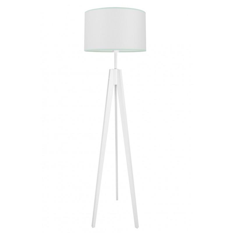 Lampa podłogowa porcelanowa biel z miętą