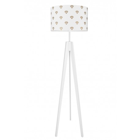 Golden diamond, white floor lamp