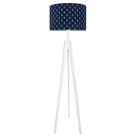 Anchors on navy blue floor lamp