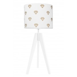 Gold diamonds on white table lamp