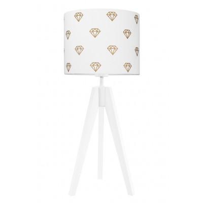 Lampa na stolik biała złote diamenty