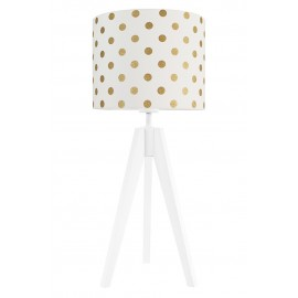 Gold dots on white table lamp