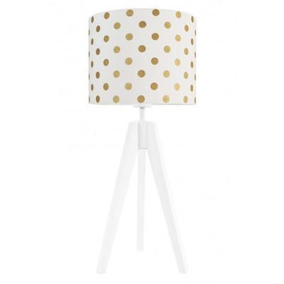 Lampa na stolik biała złote grochy