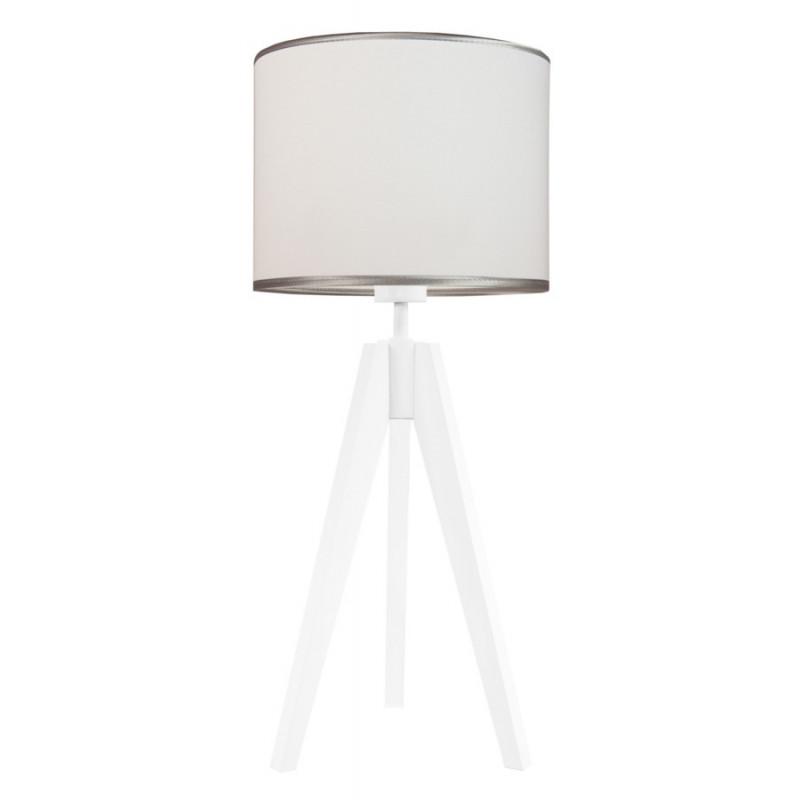 Lampa na stolik srebrzysta biel