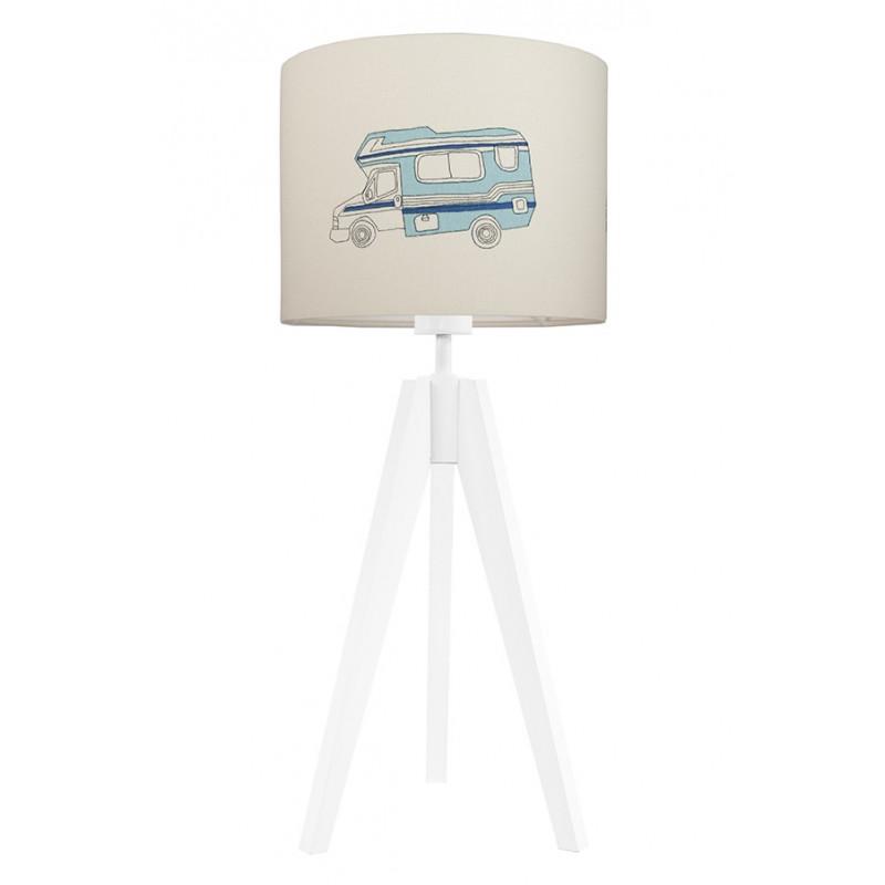 Lampa na stolik auta   biała z niebieskim autem