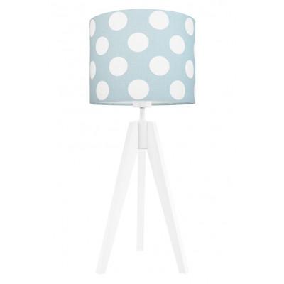 Lampa na stolik grochy na miętowo-turkusowym