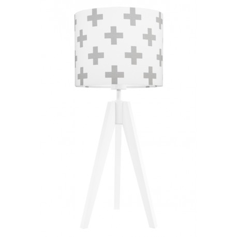 Lampa na stolik krzyżyki szare