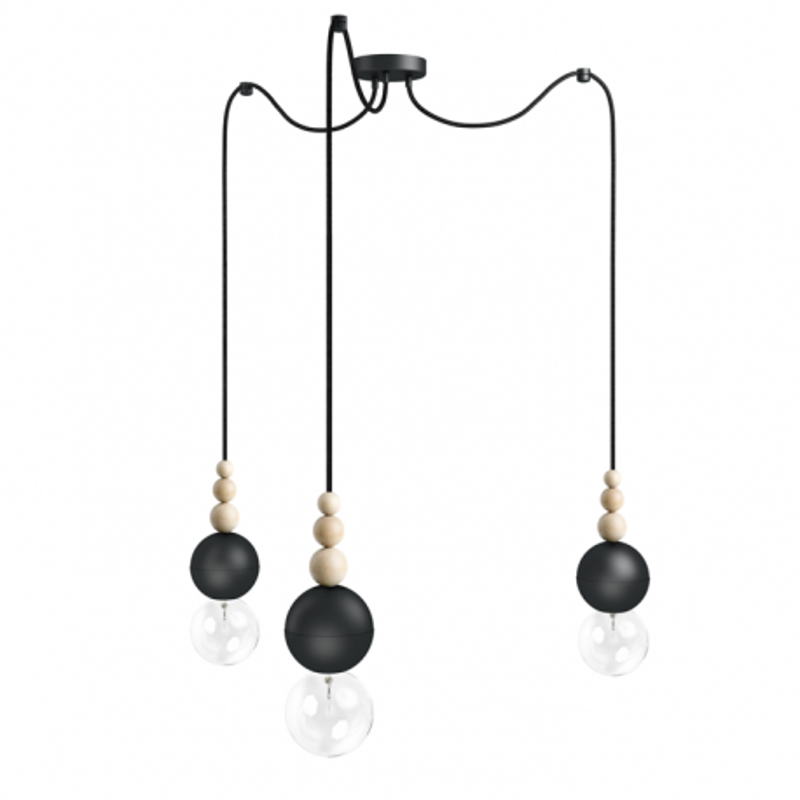 Loft Bala czarna strukturalna lampa wisząca