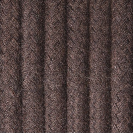 Round electric cable covered by cotton B10 brown ground 2x0.75