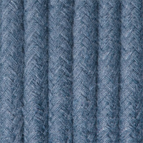 Round electric cable covered by cotton B11 sapphire sky 2x0.75