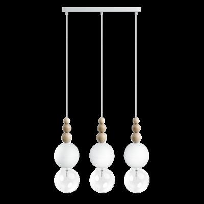Loft Bala x3 biała strukturalna lampa wisząca
