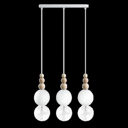 Loft Bala 3L biała strukturalna lampa wisząca KOLOROWE KABLE