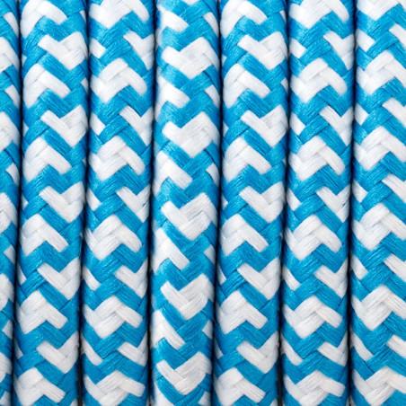 Kabel silikonowy w oplocie poliestrowym 33 biało-niebieski 2x0.75