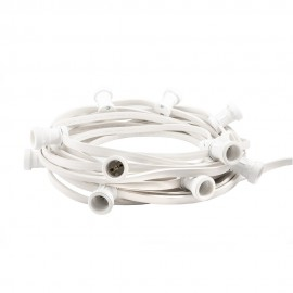 Festoon lighting chain 50m 100 bulb holders white