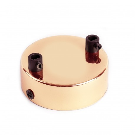 Second quality metal ceiling cover / rosette in copper color - two cables