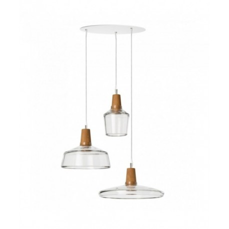 Set of 3 INDUSTRIAL Dreizehngrad lamps in clear glass