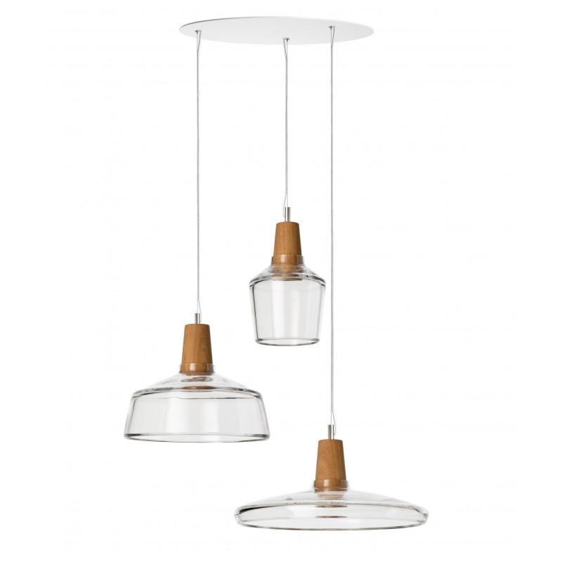 Zestaw 3 lamp INDUSTRIAL Dreizehngrad z bezbarwnego szkła