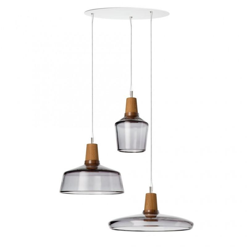 Zestaw 3 lamp INDUSTRIAL Dreizehngrad z antracytowego szkła