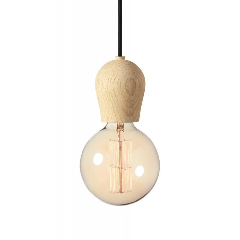 Lampa Bright Sprout Nordic Tales - dąb zabezpieczany mydłem + czarny przewód