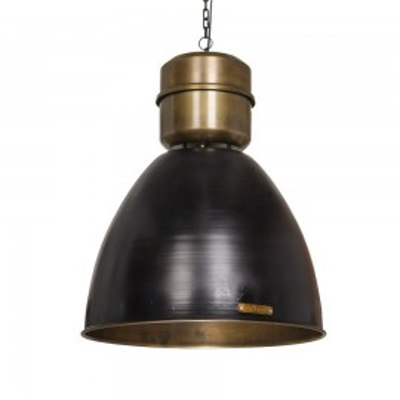 Industrialna lampa wisząca Voltera 46 cm - Matt Black / Brass LOFTLIGHT – matowa czerń, mosiądz