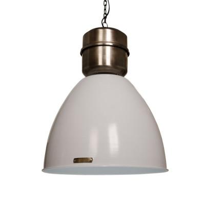 Industrialna lampa wisząca Voltera 46 cm - Shine White / Dark Nickel LOFTLIGHT – biała