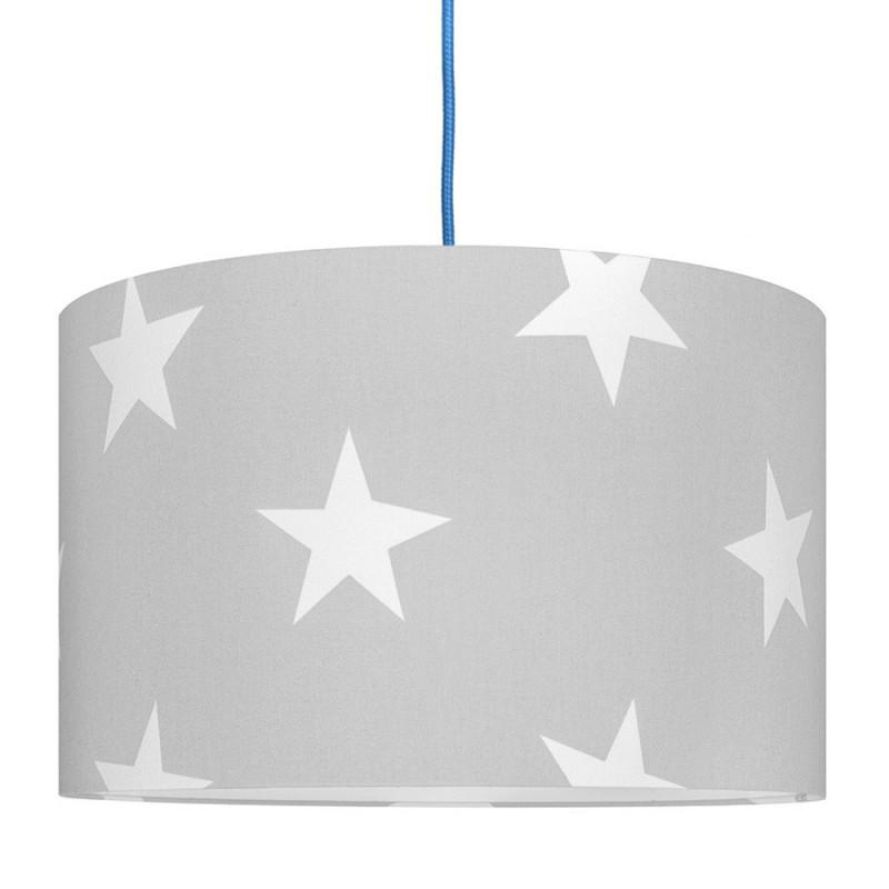 White Stars on Grey Lampshade Ø40cm