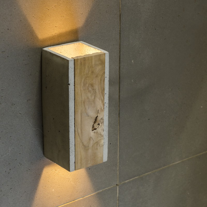 Concrete Wall Lamp Orto Teak Loftlight Wall Light With