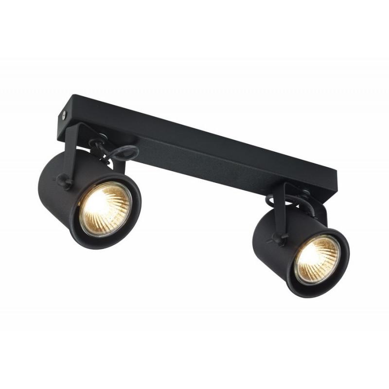 Podwójna czarna lampa sufitowa ALTER 2 listwa reflektorków KASPA