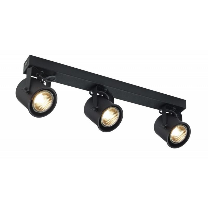 Potrójna czarna lampa sufitowa ALTER 3 listwa reflektorków KASPA